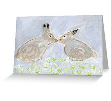 Loving Rabbits  Conejitos Amorosos Greeting Card
