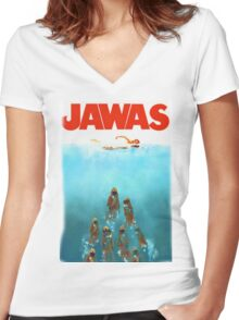 funny star wars jawas tshirt Women's Fitted V-Neck T-Shirt