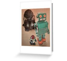 Kitten and Retro Robots Greeting Card
