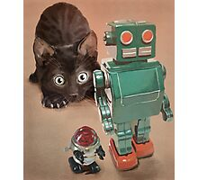 Kitten and Retro Robots Photographic Print