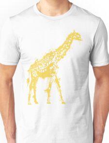 Yellow Giraffe Paint Splat Silhouette  Unisex T-Shirt