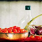 Tomatoes, red onions and olive oil by Clare Colins