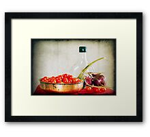 Tomatoes, red onions and olive oil Framed Print