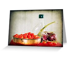 Tomatoes, red onions and olive oil Greeting Card