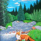 Fox beside mountain stream by StephenLTurner