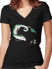 Haku, Rick, and Morty Women's Fitted V-Neck T-Shirt
