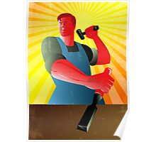 Carpenter Striking Hammer Chisel Poster Retro Poster
