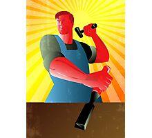 Carpenter Striking Hammer Chisel Poster Retro Photographic Print