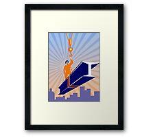 Steel Worker I-Beam Girder Ride Retro Poster Framed Print