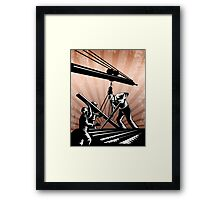Construction Team Workers Woodcut Retro Poster Framed Print