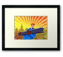 Steel Worker Carry I-Beam Retro Poster Framed Print