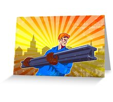 Steel Worker Carry I-Beam Retro Poster Greeting Card