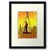 Construction Worker Platform Retro Poster Framed Print