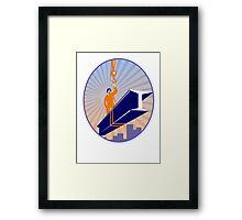 Steel Worker I-Beam Girder Ride Retro Framed Print