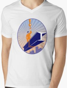 Steel Worker I-Beam Girder Ride Retro Mens V-Neck T-Shirt