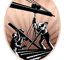 Construction Workers Woodcut Retro by patrimonio
