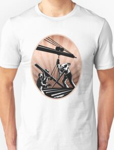 Construction Workers Woodcut Retro Unisex T-Shirt