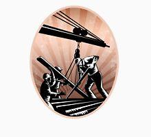 Construction Workers Woodcut Retro Unisex T-Shirt