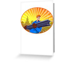 Steel Worker Carry I-Beam Retro Oval Greeting Card