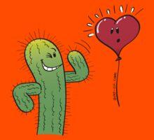 Cactus Flirting with a Heart Balloon Kids Tee