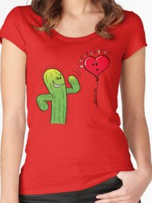 Cactus Flirting with a Heart Balloon Women's Fitted Scoop T-Shirt