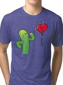 Cactus Flirting with a Heart Balloon Tri-blend T-Shirt