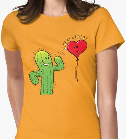 Cactus Flirting with a Heart Balloon Womens Fitted T-Shirt