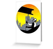 Construction Worker I-Beam Girder Retro Greeting Card