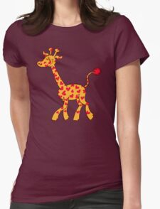 Red Heart Spotted Giraffe Womens Fitted T-Shirt