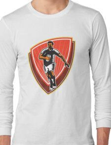 Rugby Player Running Ball Front Woodcut Long Sleeve T-Shirt