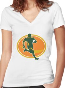 Rugby Player Running Ball Silhouette Women's Fitted V-Neck T-Shirt