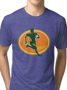Rugby Player Running Ball Silhouette Tri-blend T-Shirt