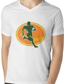 Rugby Player Running Ball Silhouette Mens V-Neck T-Shirt