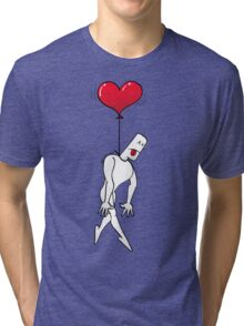 Man Hanged by a Heart Balloon Tri-blend T-Shirt
