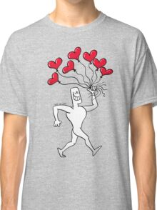 Man Walking with Heart Balloons Classic T-Shirt