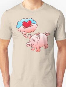 Piggy Bank Daydreaming of Hearts instead of Coins Unisex T-Shirt
