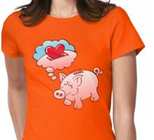 Piggy Bank Daydreaming of Hearts instead of Coins Womens Fitted T-Shirt