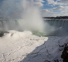 Niagara Falls Ice Buildup Panorama - Canadian Horseshoe Falls, Ontario, Canada by Georgia Mizuleva