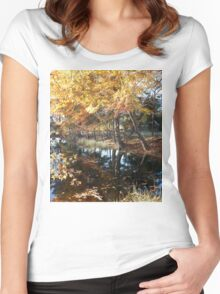 Fall Leaves Over the Pond Women's Fitted Scoop T-Shirt