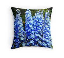 Spikes of Beautiful Blue Delphiniums  Throw Pillow