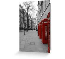 London Telephone Booths Greeting Card