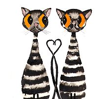VALENTINE CATS IN LOVE by Hares and Critters