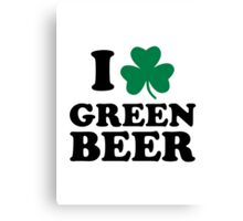 I love green beer shamrock Canvas Print