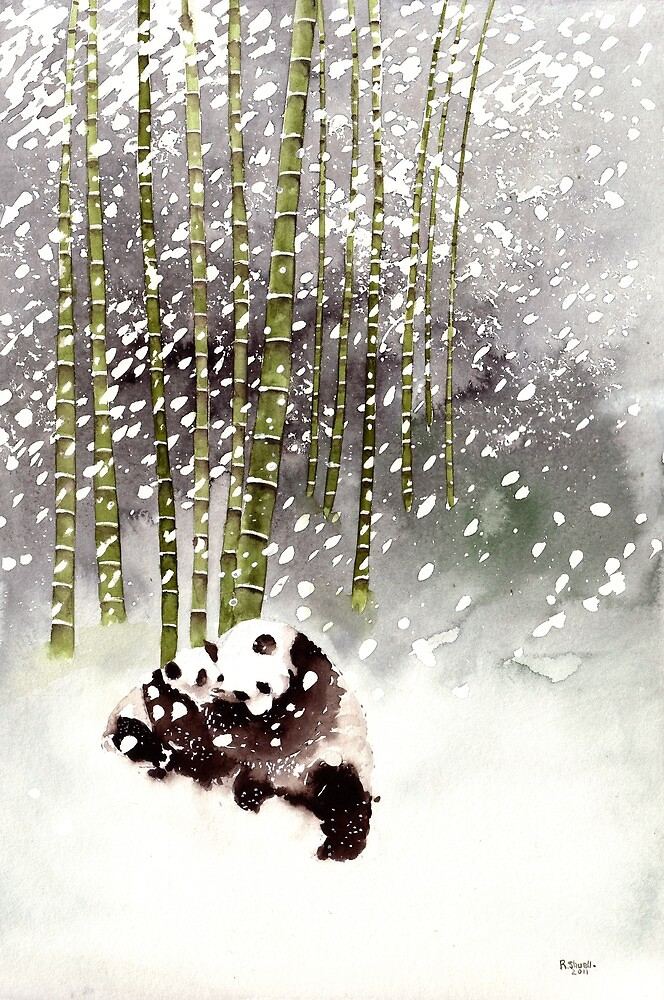 Pandas In The Snow by Ray Shuell