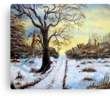 Bright Snow under the tree. Canvas Print