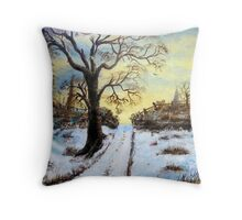 Bright Snow under the tree. Throw Pillow