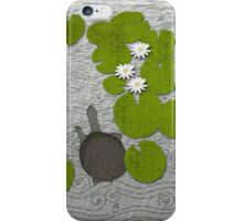 Water lilies with Florida Soft-shell Turtle iPhone Case/Skin