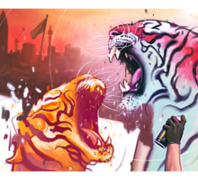 Dueling Tigers Wide Edition Sticker