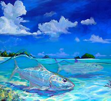 Tropical Bonefish Seascape - A Place I'd Rather Be by Mike Savlen