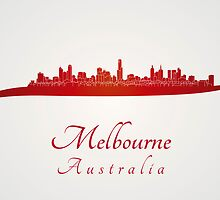 Melbourne skyline in red by paulrommer